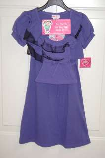 NWT MATCHING WHAT A DOLL PURPLE DRESS SET FITS 10/12, AND 18 AMERICAN