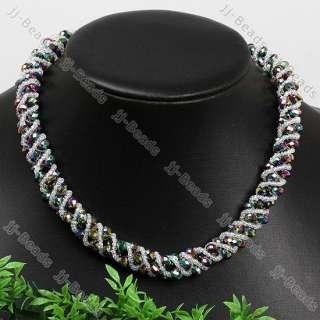 Mix Color Crystal Glass Faceted Necklace Bracelet 6x4mm
