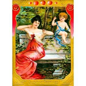 Unique High Quality Valentines Vintage Cards with Woman in