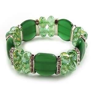 Green Cat Eye Glass Bead Flex Bracelet  18cm Length