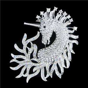 Top Horse Unicorn Pin Brooch Clear AB Swarovski Crystal Animal