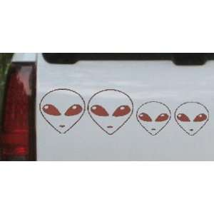 Brown 44in X 12.8in    Alien Stick Family Stick Family Car Window Wall