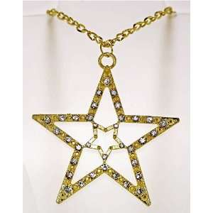 Gold Toned Austrian Rhinestone Crystal Star Necklace