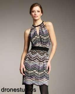 Plaid Wavy Stripe Knit Dress Multi Color Aqua Blue Purple 48 12