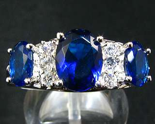 Ocean Blue Sapphire 18K White Gold Plated Fashion Jewellery Ring Sz 7