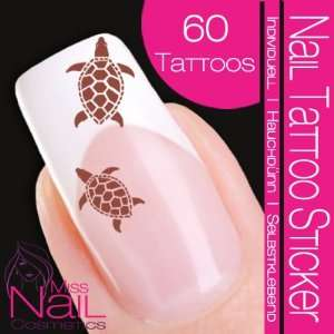 Nail Tattoo Sticker Turtle / Tortoise   brown: Beauty