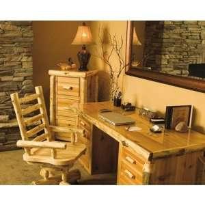 1709 / 170 Traditional Cedar Log Executive Standard Desk Office Suite
