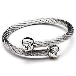 Stainless Steel Twisted Wire Bangle w/ Swarovski Crystals in