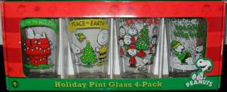 GANG SNOOPY CHARLIE BROWN LUCY CHRISTMAS GLASS 4 HOLIDAY PINT GLASSES