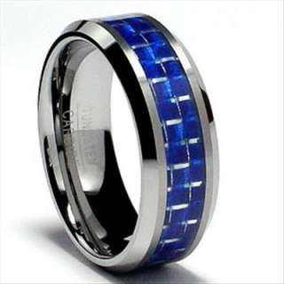 Tungsten Carbide Ring Blue Carbon Fiber Inlay Wedding Band