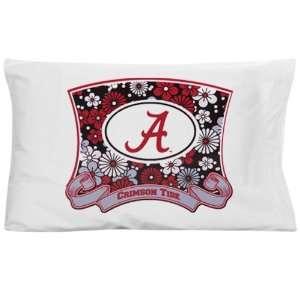 Alabama Crimson Tide White Floral Pillow Case Sports