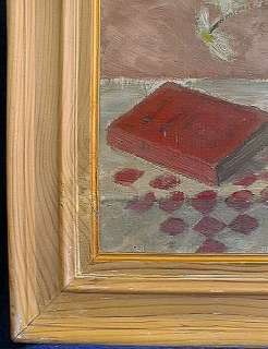 BELGIAN OIL PAINTING RENE SUDRE 1924 DAISIES ART DECO SIGNED DEDICATED