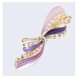 Fashion Hair Accessory ~ Purple Metal Ribbon Hair Clip (Style