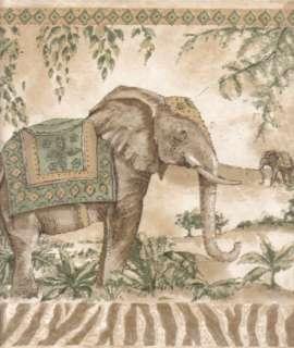 ELEPHANTS & TROPICAL BIRDS Green Wallpaper bordeR Wall
