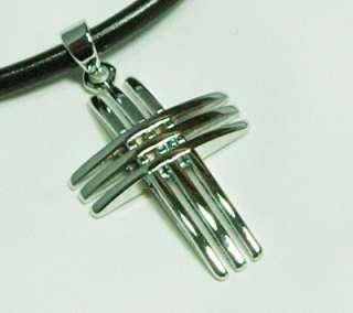 Mens/Women Triple Closs Pendant Leather Necklace LN26