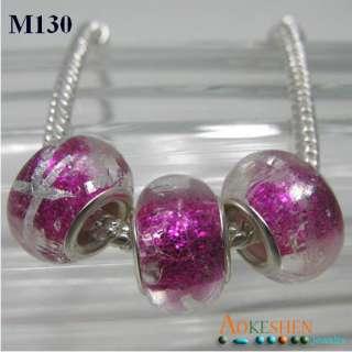 Hotpink Murano Glass Beads European Charm Bracelet M130