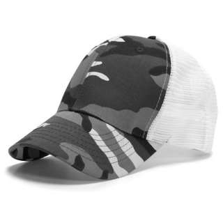GREY CAMO 6 PANEL MESH TRUCKER BASEBALL CAP HAT CAPS