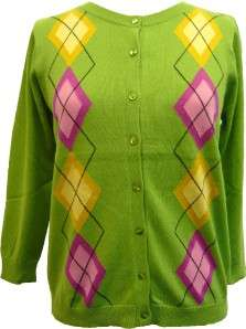 August Silk lawn green argyle cardigan sweater size L