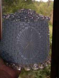 VINTAGE GLASS CEILING LIGHT FIXTURE SHADE Basketweave frosted light