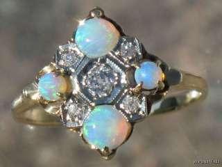 14K YELLOW GOLD OLD MINE CUT DIAMOND & BLUE AUSTRALIAN FIRE OPAL RING
