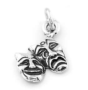 SILVER COMEDY TRAGEDY DRAMA MASK CHARM/ PENDANT