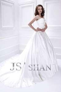 Jsshan Princess Satin Strapless Train A Line Bridal Gown Wedding Dress