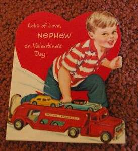 Vintage toy semi truck motor transport Valentine card