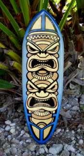 Blue Tiki Totem Surfboard Wall Art Tropic Beach Decor