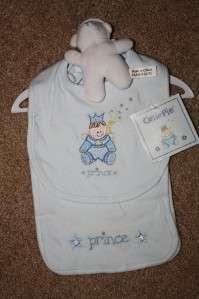 NEW boys PRINCE BIB SET baby shower gift TEDDY BEAR burp cloth GREAT