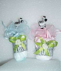 ZEBRA SAFARI DIAPER CUPCAKES BABY SHOWER TOPPER CAKE 1 GIFT FAVOR BOY