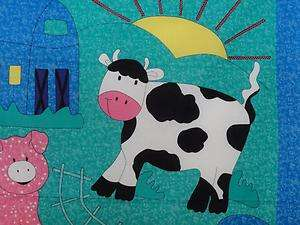 New Farm Animal Fabric Panel Sheep Cow Pig Baby Nursery