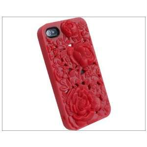 Red Hard Case Cover for Iphone 4 4s 4g White 3d Sculpture