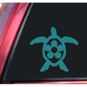 Flower Honu Hawaiian Sea Turtle Teal Vinyl Decal Sticker