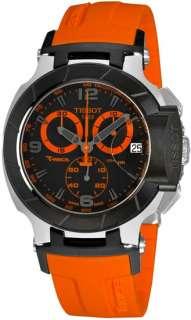 Tissot T Race Chronograph Black Quartz Orange Rubber Mens Watch