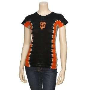 San Francisco Giants Ladies Black Tie Dye T shirt