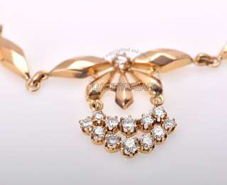 Estate 18K Rose Gold Diamond 1940 Necklace