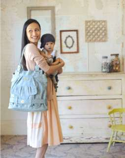 Timi & Leslie Faux Leather Baby Diaper Bag Tote Louise Cloud Blue TL