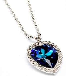 SAPPHIRE BLUE SWAROVSKI CRYSTAL HEART OF THE OCEAN PENDANT NECKLACE