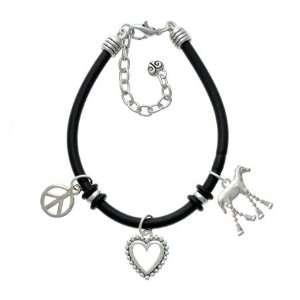 Horse with 4 Dangle Legs Black Peace Love Charm Bracelet