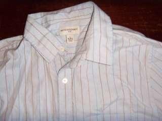 Mens BANANA REPUBLIC Blue Pinstripe DRESS SHIRT Large