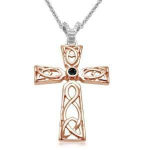 18k Rose Gold Plated Sterling Silver Black and White Diamond Celtic