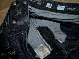 MISS ME by Mek CRYSTAL Fallen Angel Wing SKINNY Black Jeans sz 28 x 32