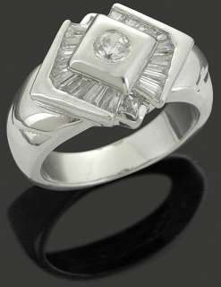 Mens 925 Sterling Silver CZ Iced Out Hip Hop Bling Ring