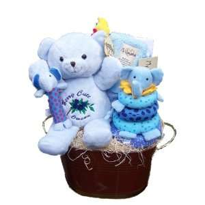 Personalized Baby Boy Gift Baskets   The Blue Bear Basket Baby