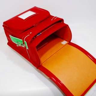 NWT Japanese school backpack RANDOSERU red cowhide leather titanium