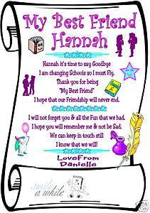 BEST FRIEND LEAVING SCHOOL PERSONALIZED laminated card