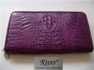 Genuine Crocodile Skin Leather Ladies Clutch Wallet RIVER Zipper Close