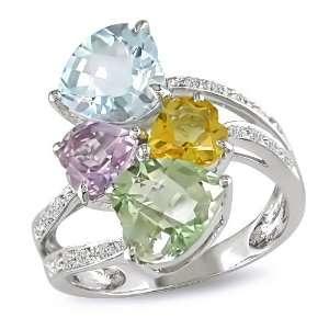 , Blue Topaz, Amethyst, Green Amethyst and Citrine Ring, (.1 cttw, HI