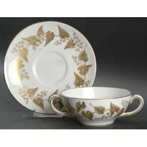 Wedgwood Fine China Buxton Gold Cream Soup and Saucer Set