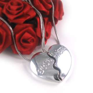 New BEST FRIENDS BFF HEART PENDANT NECKLACE JEWELRY 368